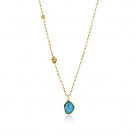 Ania Haie N014-02G Ketting Mineral Glow Turquoise zilver goudkleurig 46-51 cm