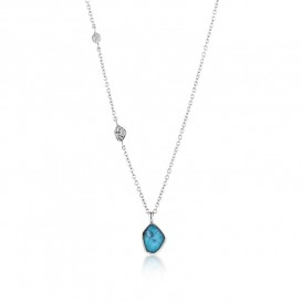 Ania Haie N014-02H Ketting Mineral Glow Turquoise zilver 46-51 cm