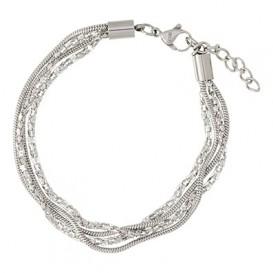 IXXXI Enkelband Snake and Popcorn staal zilverkleurig 23-27 cm B0030423003