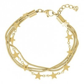 IXXXI Enkelband Snake and Star staal goudkleurig 23-27 cm B0030223001