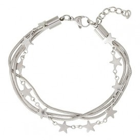IXXXI Enkelband Snake and Star staal zilverkleurig 23-27 cm B0030223003