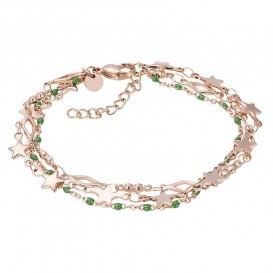 IXXXI B00339-02 Armband Kenia Green Star rosekleurig-groen 17-20 cm