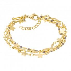 IXXXI B00341-01 Armband Kenia Grey Star goudkleurig-grijs 17-20 cm