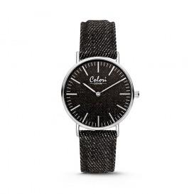 Colori - Denim - 5-COL413 - Horloge - denim band - zwart - 36 mm