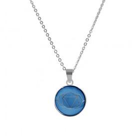 CO88 Collection 8CN-26001 - Stalen collier met hanger - jasseron - glazen third eye chakra 15 mm - lengte 42 + 5 cm - blauw / zilverkleurig