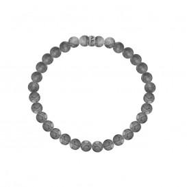 Kaliber 7KB-0061L - Heren armband met stalen element - Jaspis natuursteen 6 mm - maat L (20 cm) - grijs / zilverkleurig