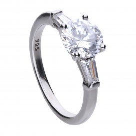 Diamonfire Zilveren Solitaire Ring Maat 18 - Bridal Zirkonia 814.0081.18