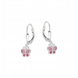Lilly Zilveren Kinderoorhangers - Roze Vlinders Emaille 108.0001.00