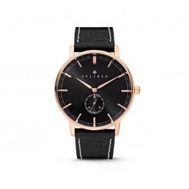 Kaliber 7KW-00004 Horloge met lederen band zwart en rosékleurig 40 mm