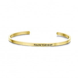Key Moments 8KM-B00098 Stalen open bangle met tekst follow your heart zirkonia one-size goudkleurig