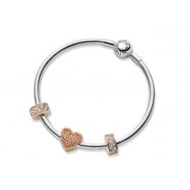 Pandora Eeuwige Liefde Set Armband en Rose bedels 19 cm B800749