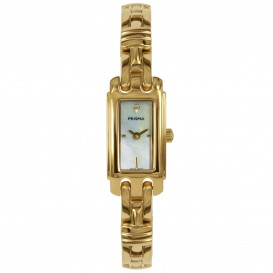 Prisma Dameshorloge goudkleurig saffierglas Zwitsers uurwerk P.1761