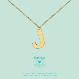 Heart to get LB151INJ16G Big Initial letter J including necklace (40 + 8cm) goldplated