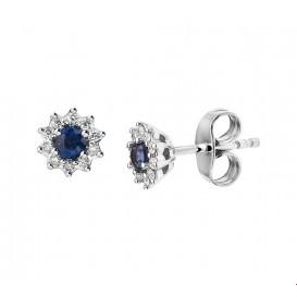 Oorknoppen Saffier Diamant 0.11ct (2x0.055ct) H P1 Witgoud Glanzend
