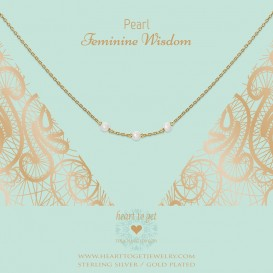 Heart to get N308TGBP16G necklace three gemstones in between, Pearl feminine wisdom goldplated