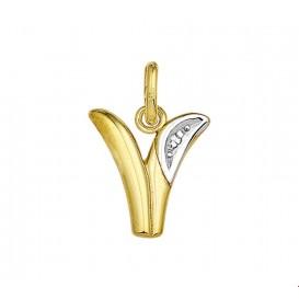Bedel Letter V Diamant 0.005 Ct. Goud
