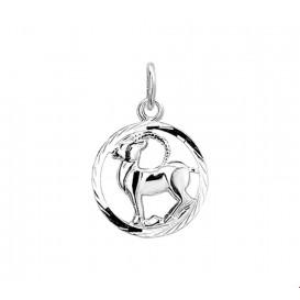 Bedel Sterrenbeeld Steenbok Gediamanteerd Zilver