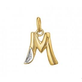 TFT Hanger Geelgoud Letter M Diamant 0.005 Ct.