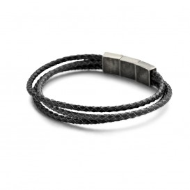 Kaliber 7KB-0135 Leren Armband - Heren - 3 Strengen - Gevlochten - Leer - Staal Slot - 9 mm -  Lengte Verstelbaar - 20 + 1 cm - Zwart