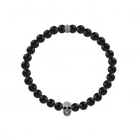 Kaliber 7KB-0064M - Heren armband met beads - schedel - Agaat natuursteen 6 mm - maat M (18 cm) - zwart / zilverkleurig