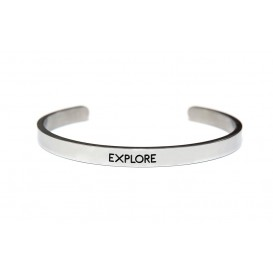 Key Moments 8KM-BM0004 Stalen open bangle met tekst explore one-size zilverkleurig