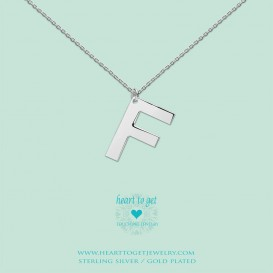 Heart to get LB147INF16S Big Initial letter F including necklace (40 + 8cm) silver
