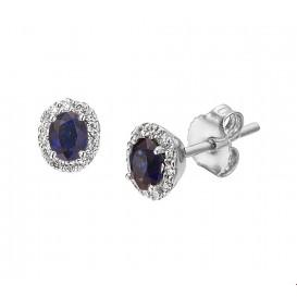 Oorknoppen Saffier Diamant 0.12ct (2x0.06ct) H SI Witgoud Glanzend 6.5 mm x 5.5 mm