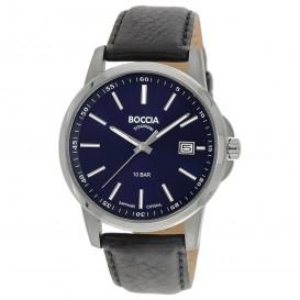 Boccia 3633-01 Horloge Titanium/Leder zilverkleurig-zwart 40 mm