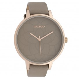 OOZOO C10104 Horloge Timepieces Collection staal/leder rosekleurig-taupe 48 mm