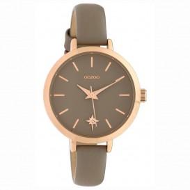 OOZOO C10387 Horloge Timepieces staal/leder Taupe 38 mm