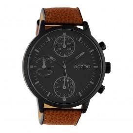 OOZOO C10533 Horloge Timepieces staal/leder bruin-zwart 50 mm