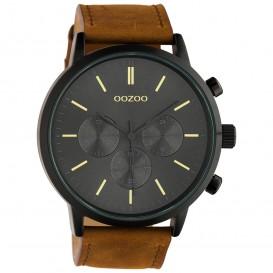 OOZOO C10543 Horloge Timepieces staal-leder bruin-zwart-grijs 48 mm