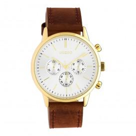 OOZOO C10597 Horloge Timepieces staal/leder goudkleurig-bruin 40 mm