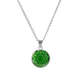CO88 Collection 8CN-26003 - Stalen collier met hanger - jasseron - glazen heart chakra 15 mm - lengte 42 + 5 cm - groen / zilverkleurig