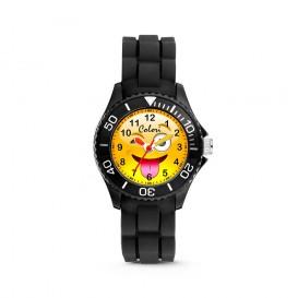 Colori Happy Smile 5-CLK072 - Kinderhorloge - siliconen band - zwart - 30 mm