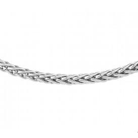 Zilgold Collier Witgoud met zilveren kern Vossestaart 4,0 mm 45 cm