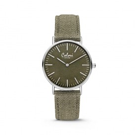 Colori - Denim - 5-COL414 - Horloge - denim band - groen - 36 mm