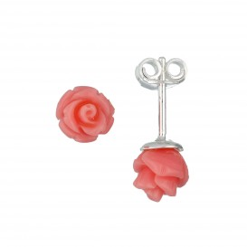 Lilly Zilveren Kinderoorknopjes - Roze Roos  106.0905.00