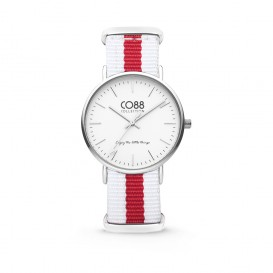 CO88 Collection 8CW-10027 - Horloge - nato nylon - wit/rood - 36 mm