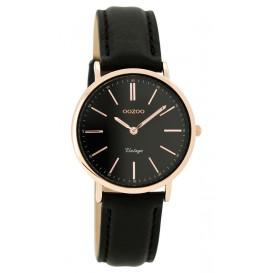 OOZOO Horloge Vintage zilver/zwart 32 mm C8824