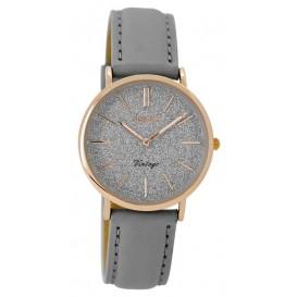 OOZOO Horloge Vintage rosé/grijs 32 mm C8831