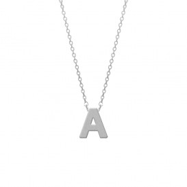 CO88 Collection 8CN-11000 - Stalen collier - letterhanger A 9 mm - lengte 42+5 cm - zilverkleurig