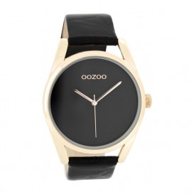 OOZOO Horloge Timepieces Collection staal/leder rosekleurig-zwart C9179