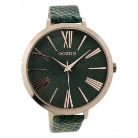OOZOO Horloge Timepieces Collection green-rosegold snake 48 mm C9216