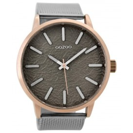 OOZOO Horloge Timepieces staal zilver-rosé-taupe 48 mm C9232