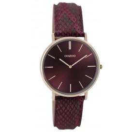 OOZOO Horloge Vintage staal rosékleurig-bordeaux 32 mm C9306