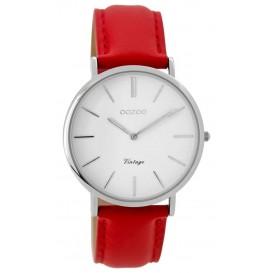OOZOO C9308 Horloge Vintage staal zilverkleurig-rood 36 mm
