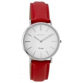 OOZOO C9309  Horloge Vintage staal zilverkleurig-rood 32 mm