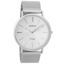 OOZOO Horloge Vintage zilverkleurig mesh 40 mm C9340