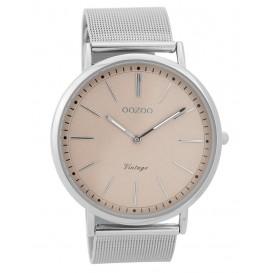 OOZOO Horloge Vintage Mesh zilverkleurig 44 mm C9355